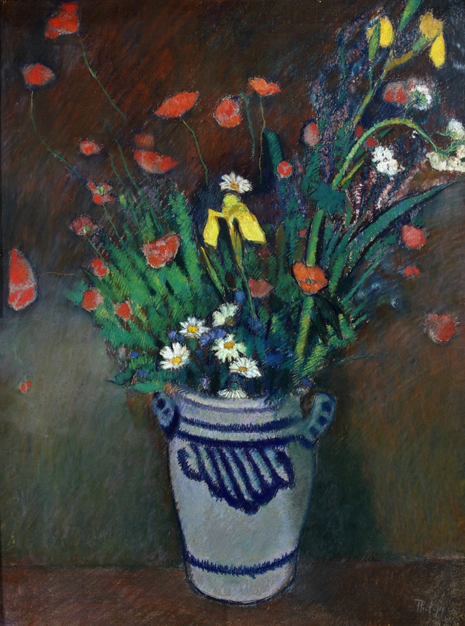 Wild Flowers in a Sieburg Jar / Standing Woman with Hat and Umbrella