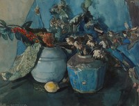 Still life with ginger jar and a lemon