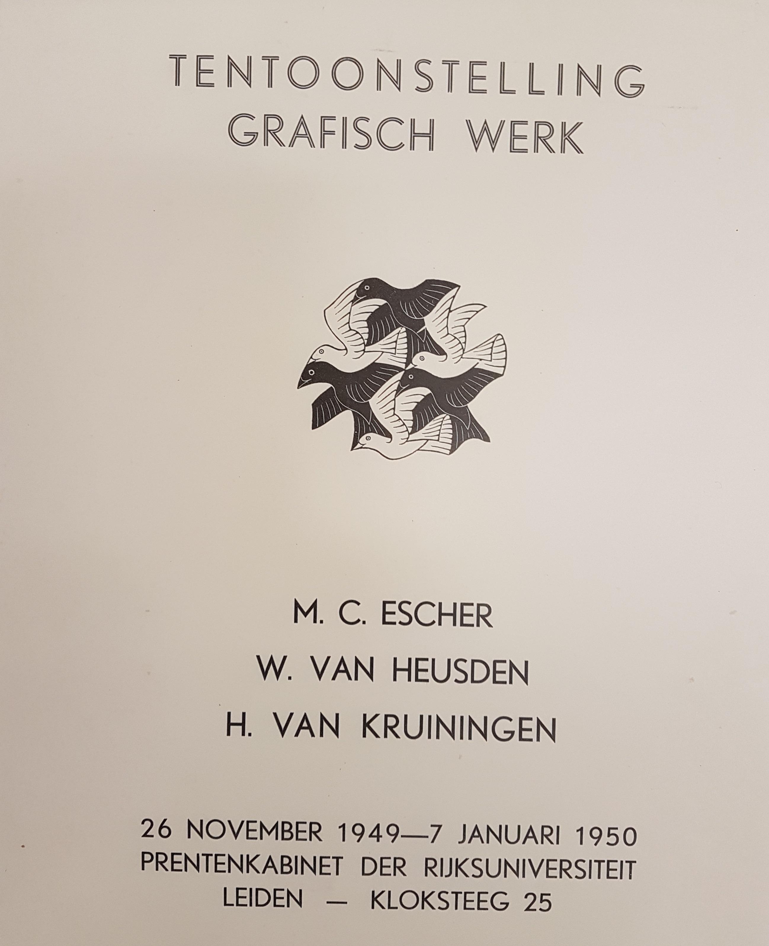 Zeldzaam Affiche expositie Prentenkabinet Leiden 1949-1950