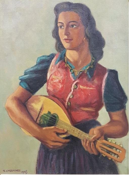 Mandoline speelster