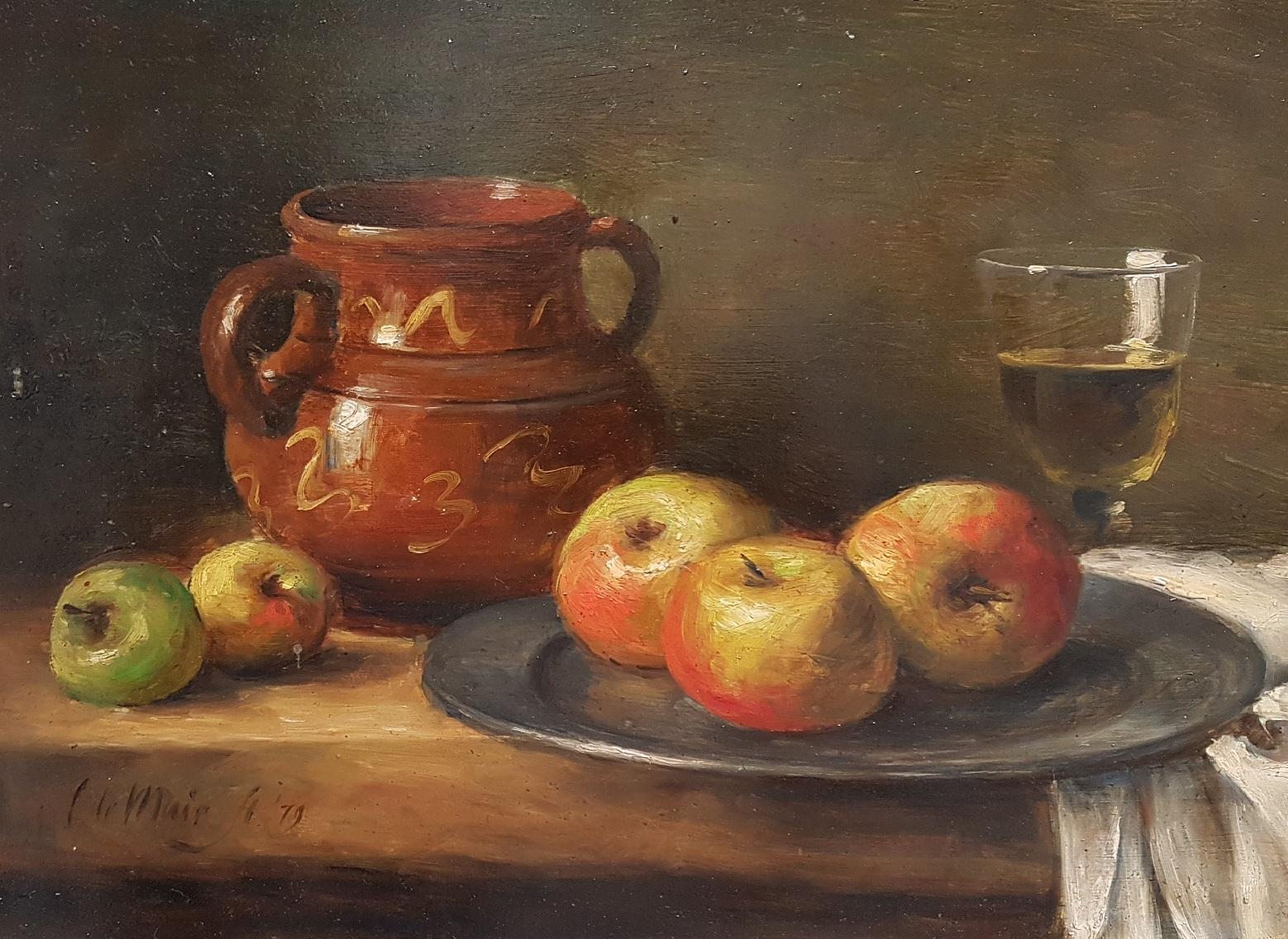 Stilleven met kan appels en glas