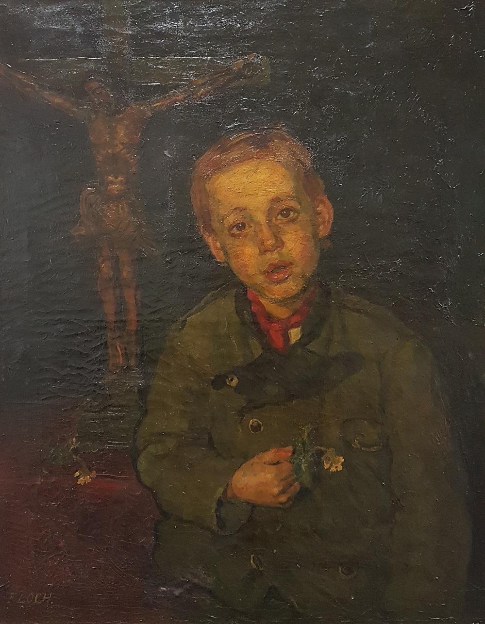 Jongetje met bloemetje met crucifix in de achtergrond