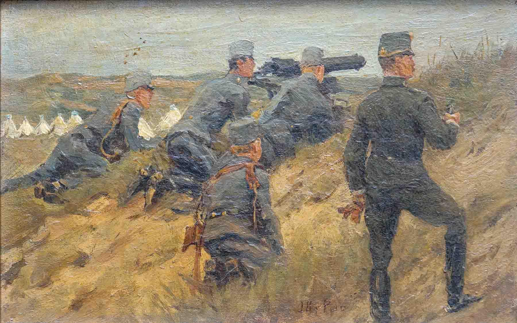 Artilleristen in de duinen