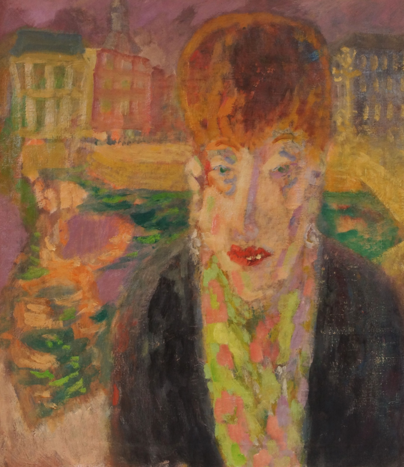 Portret van een dame (Nel?) met op de achtergrond een zicht van Rotterdam