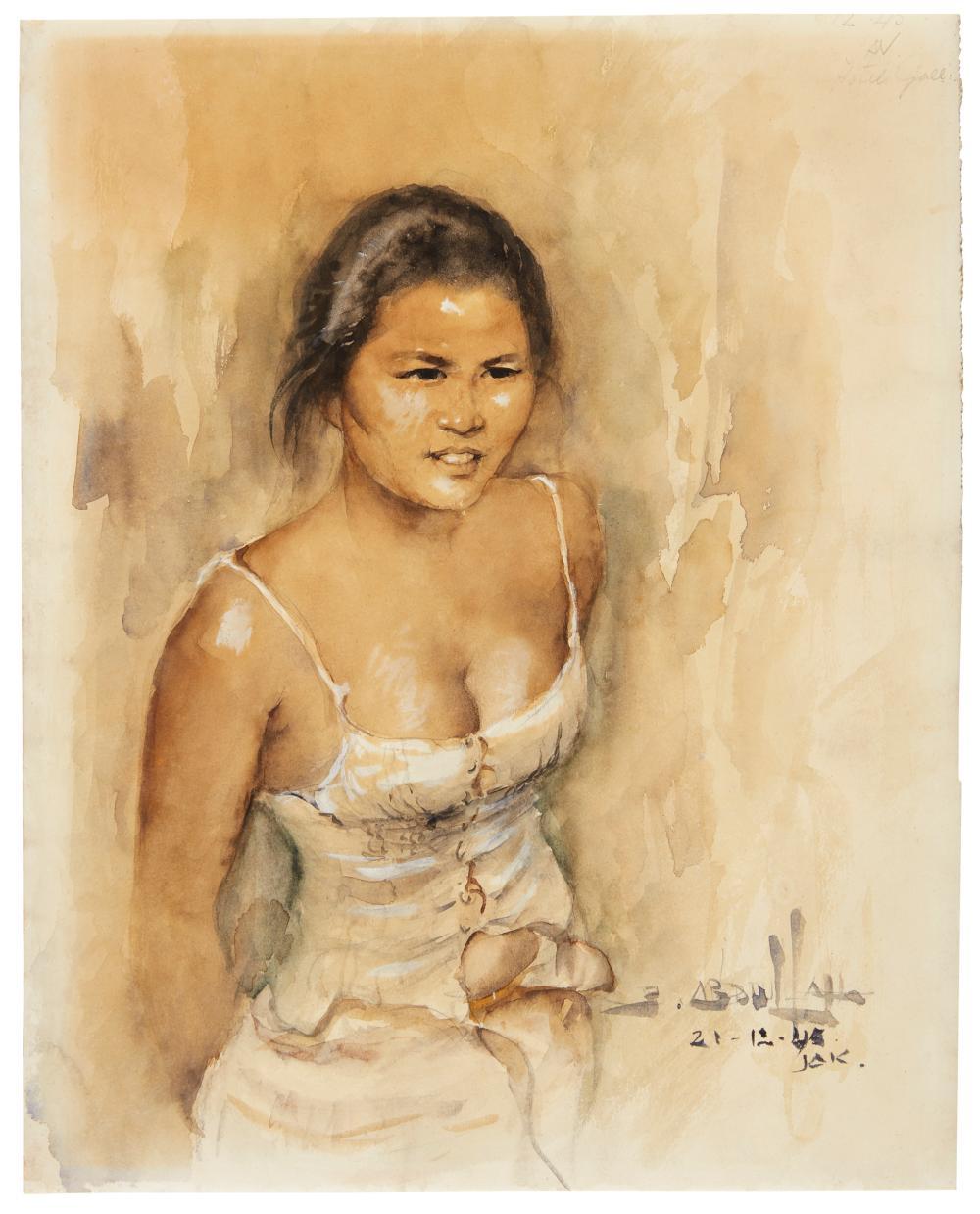 Indisch meisje met gedeeltelijk losgeknoopt onderhemd (Javanese girl with partially unbuttoned undershirt), 1945.