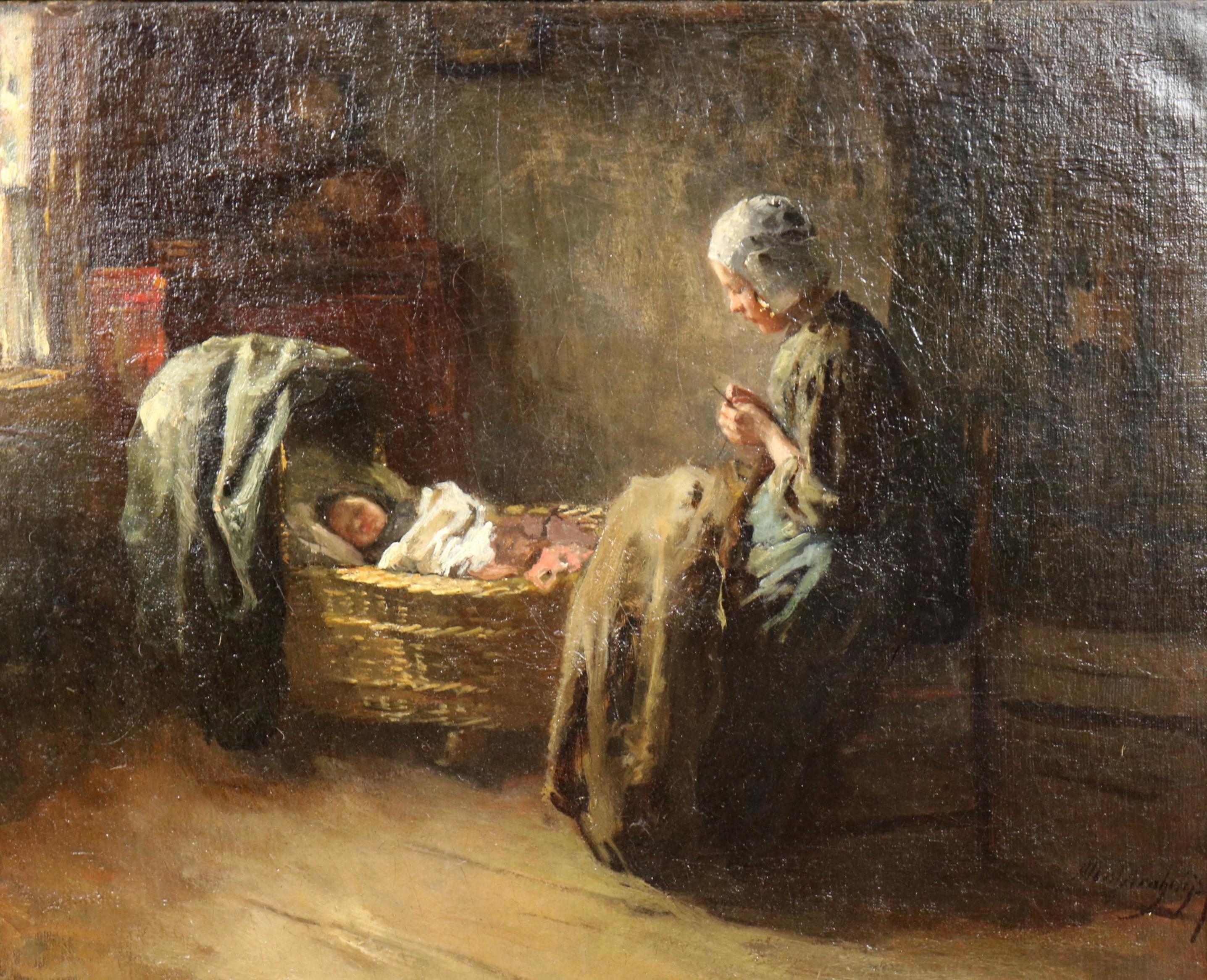 Binnenhuis met jonge moeder en een kind in de wieg