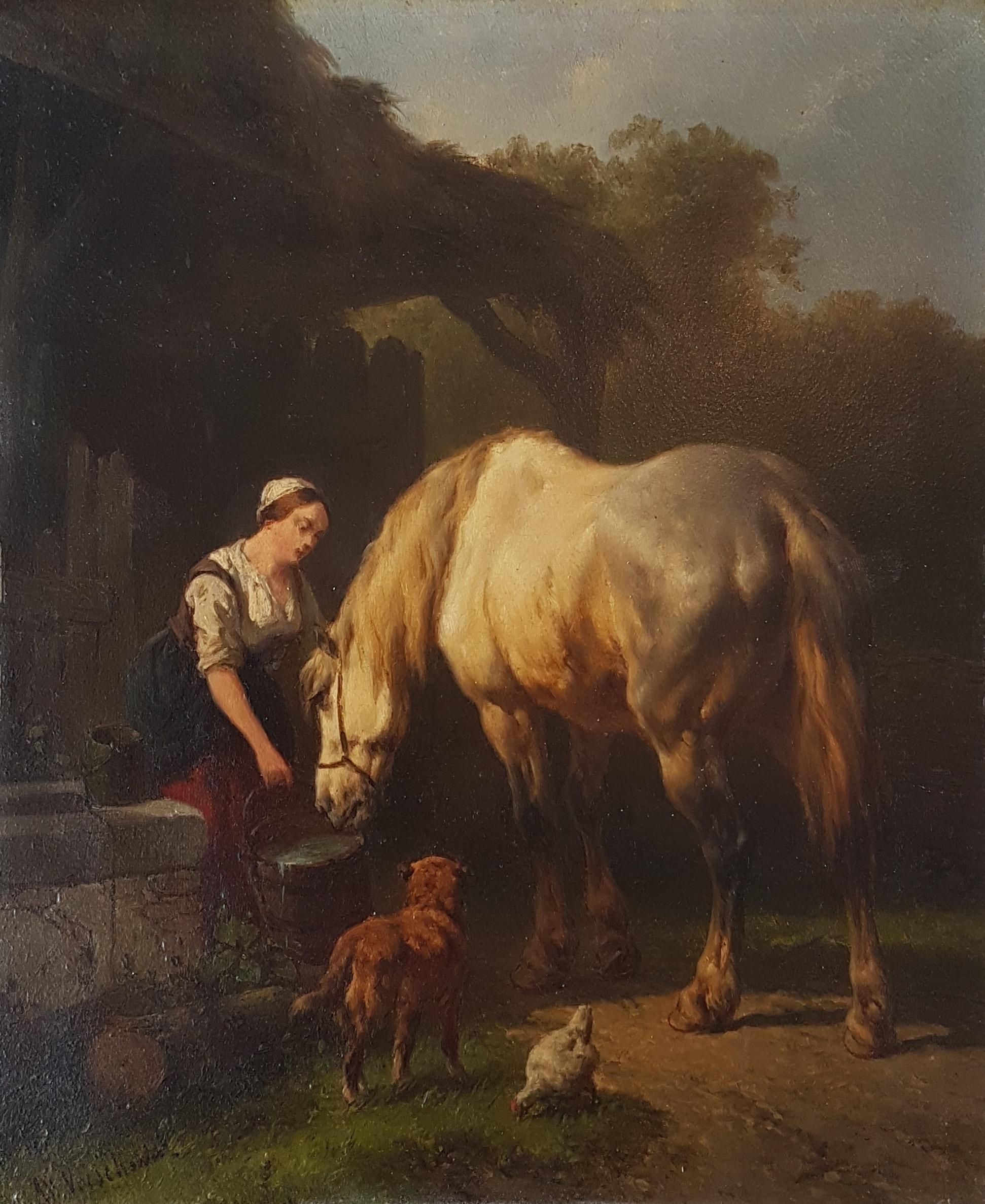Vrouw laat paard drinken