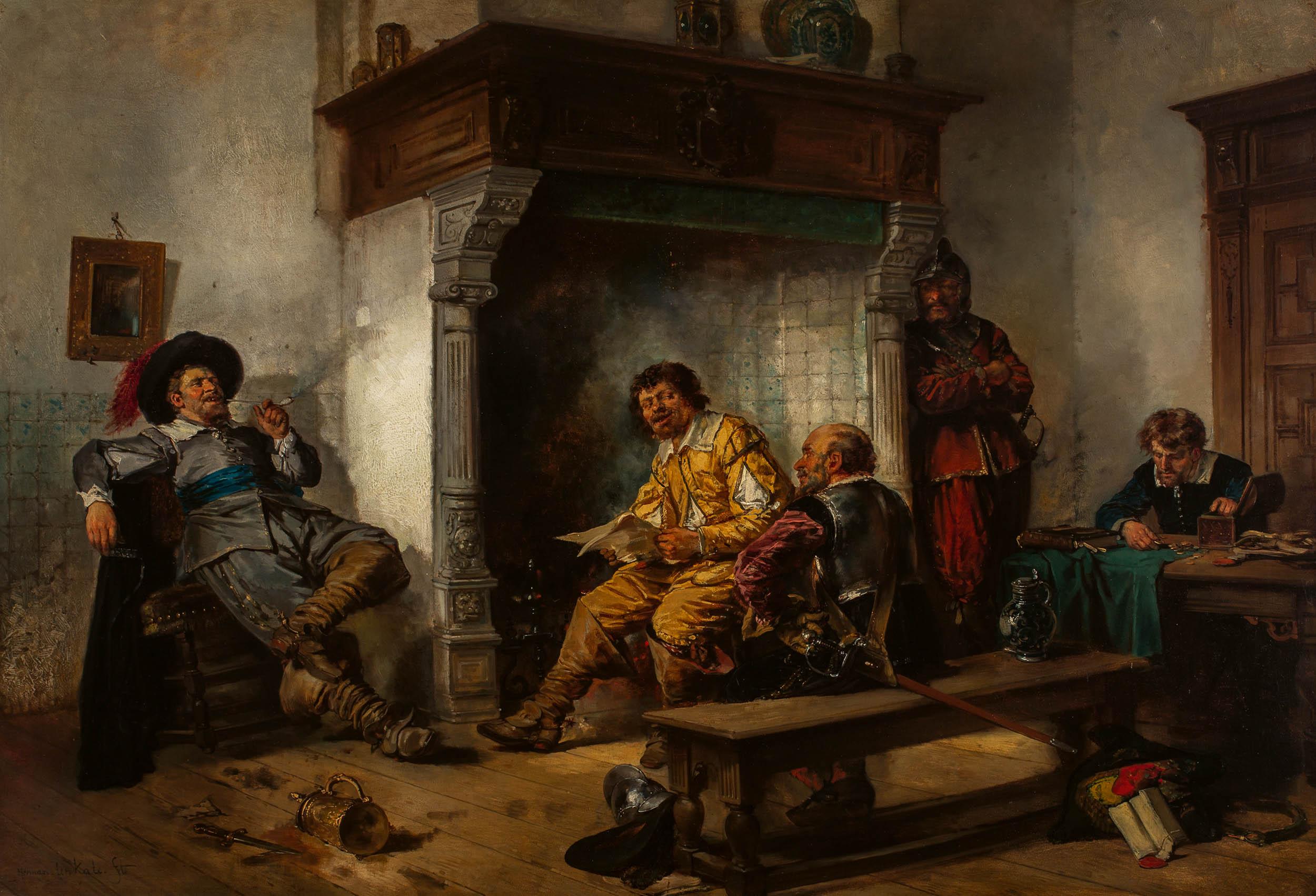 Interior of a Dutch cabaret, soldiers dividing their spoils, 1876