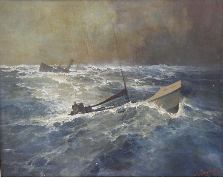 Onderzeeër met op de achtergrond een zinkend schip.