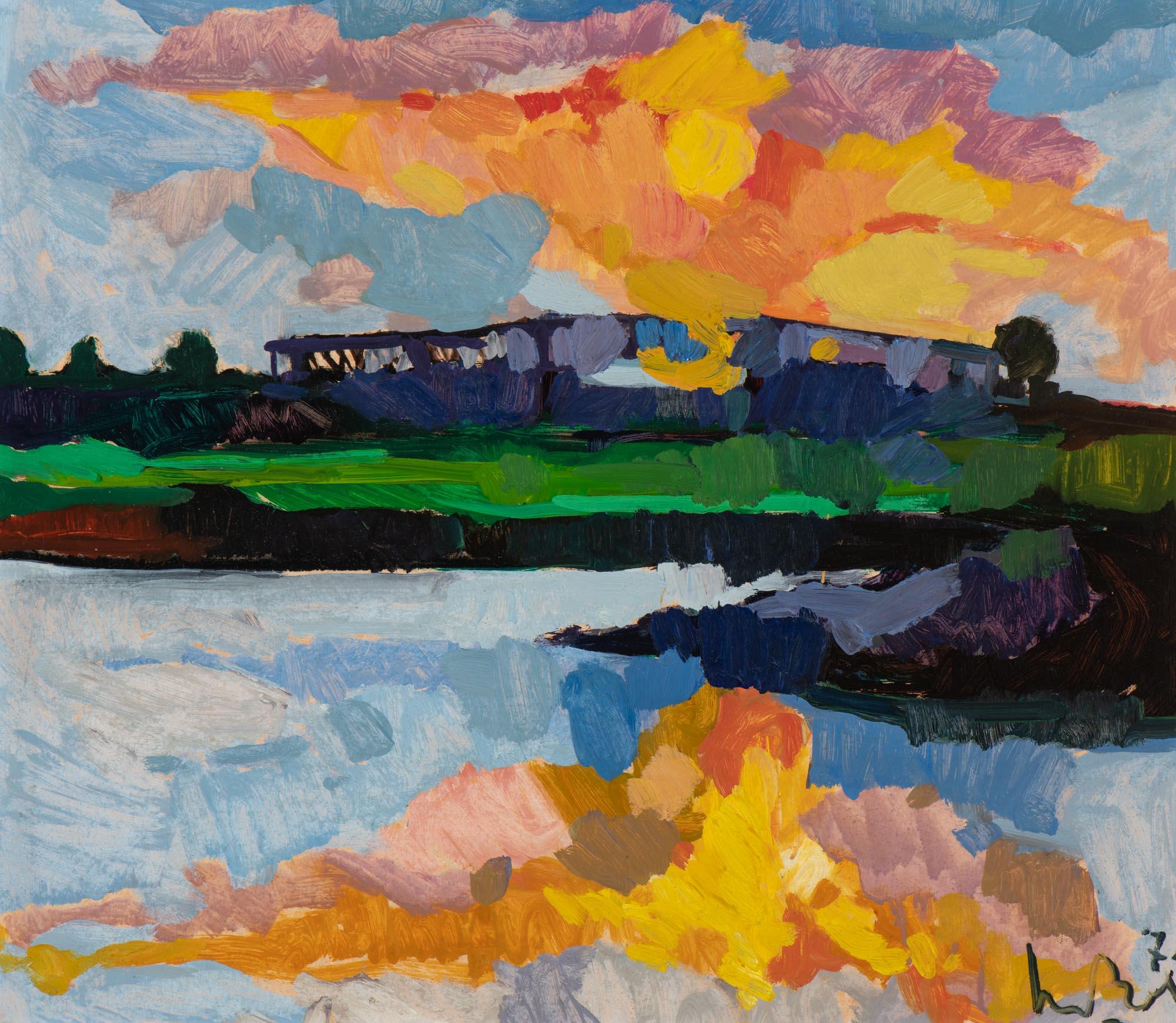 """Zonsondergang bij het Heusden Kanaal"""" (Sunset over the Heusden Kanaal"""