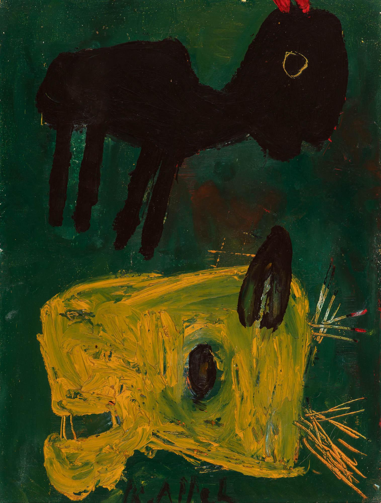 Dieren op blauwgroen fond (Animals on blue-green background) (c. 1948)