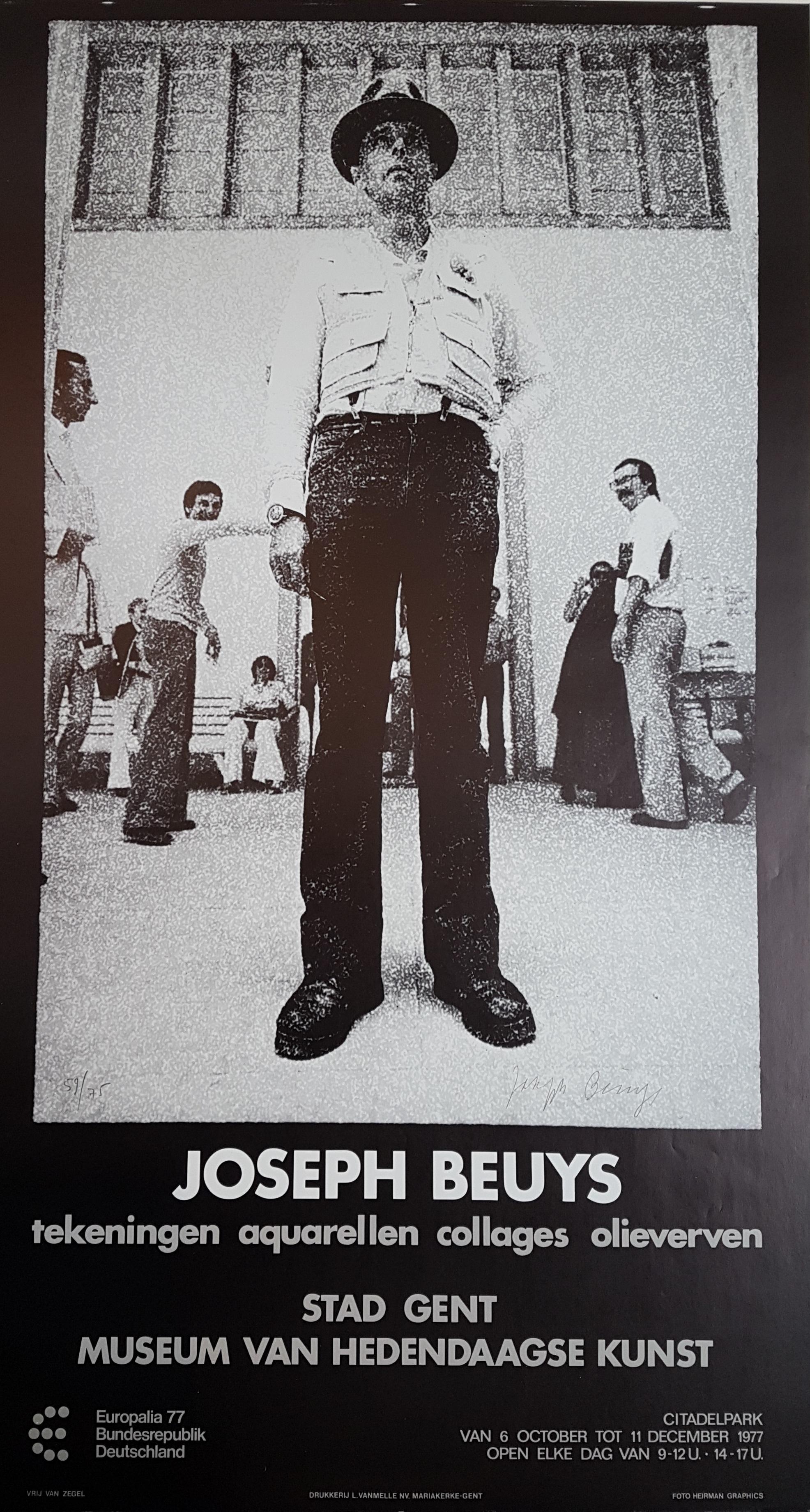 Joseph Beuys tentoonstelingsaffiche stad Gent 1977