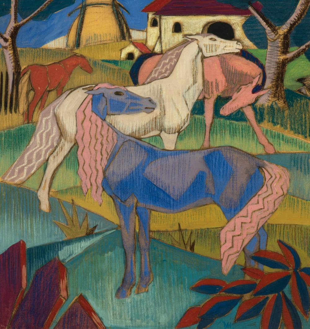 Horses in the field, c. 1928.