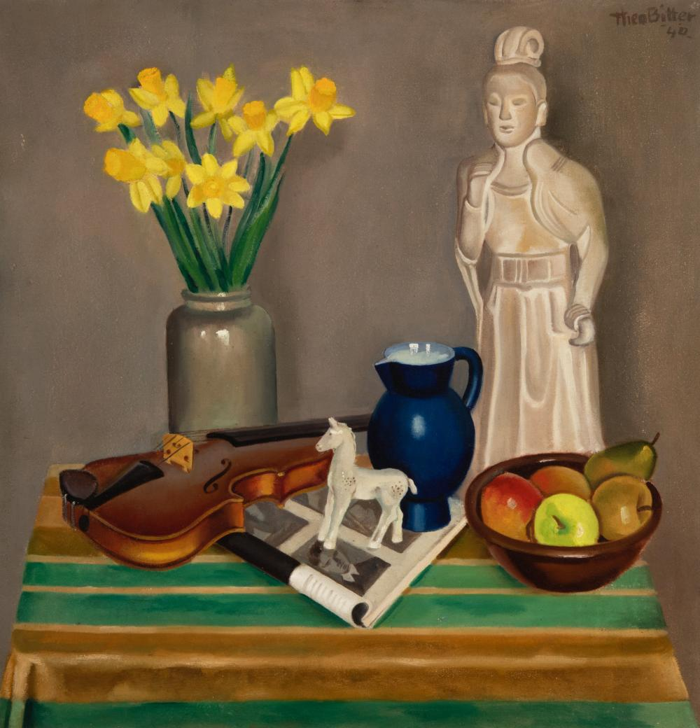 Still life with daffodils, violin and statue, 1940