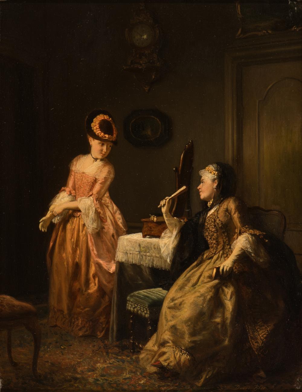 Confidence: two elegant ladies in an interior (c. 1871)