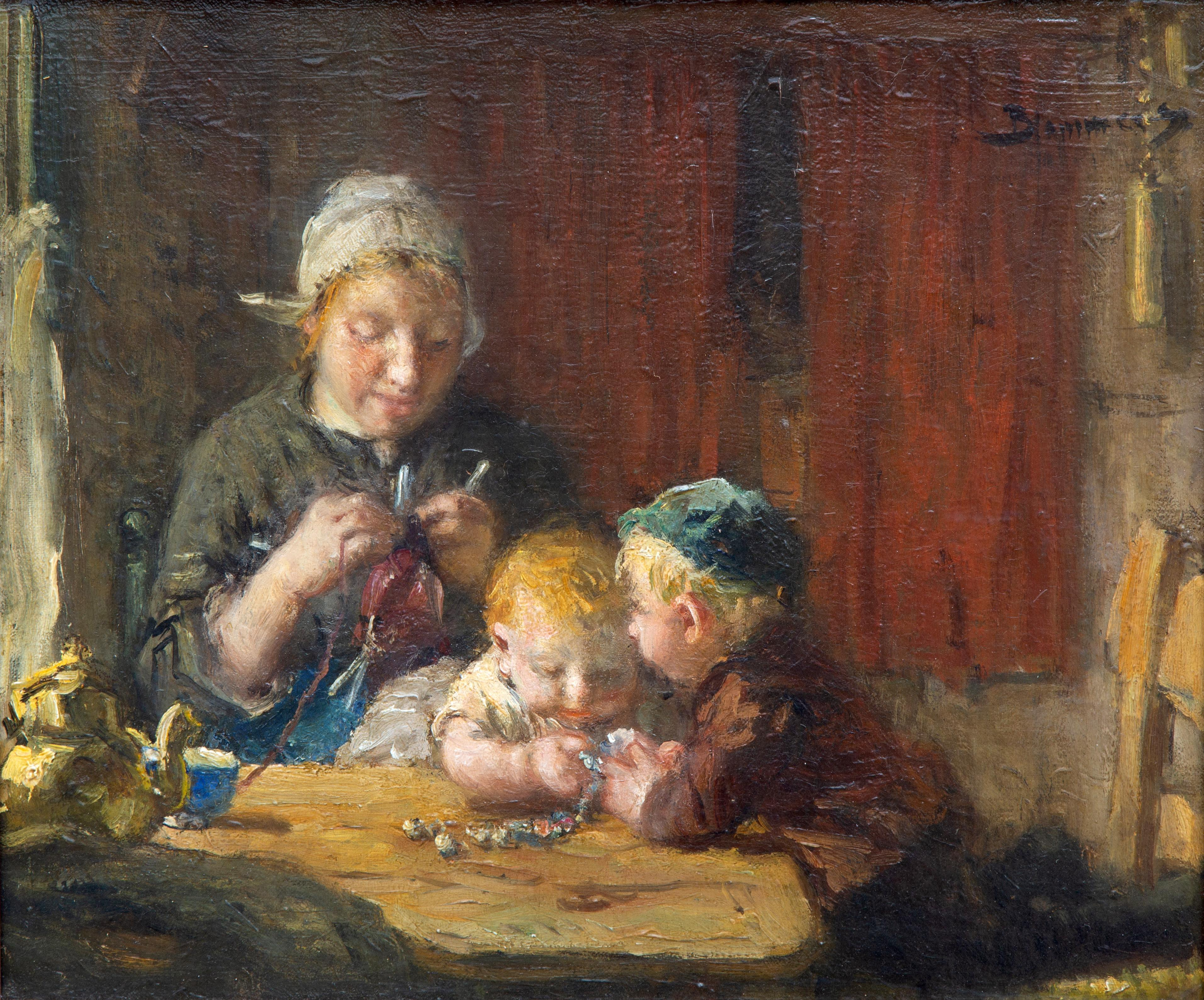 An interior with a mother knitting and children playing