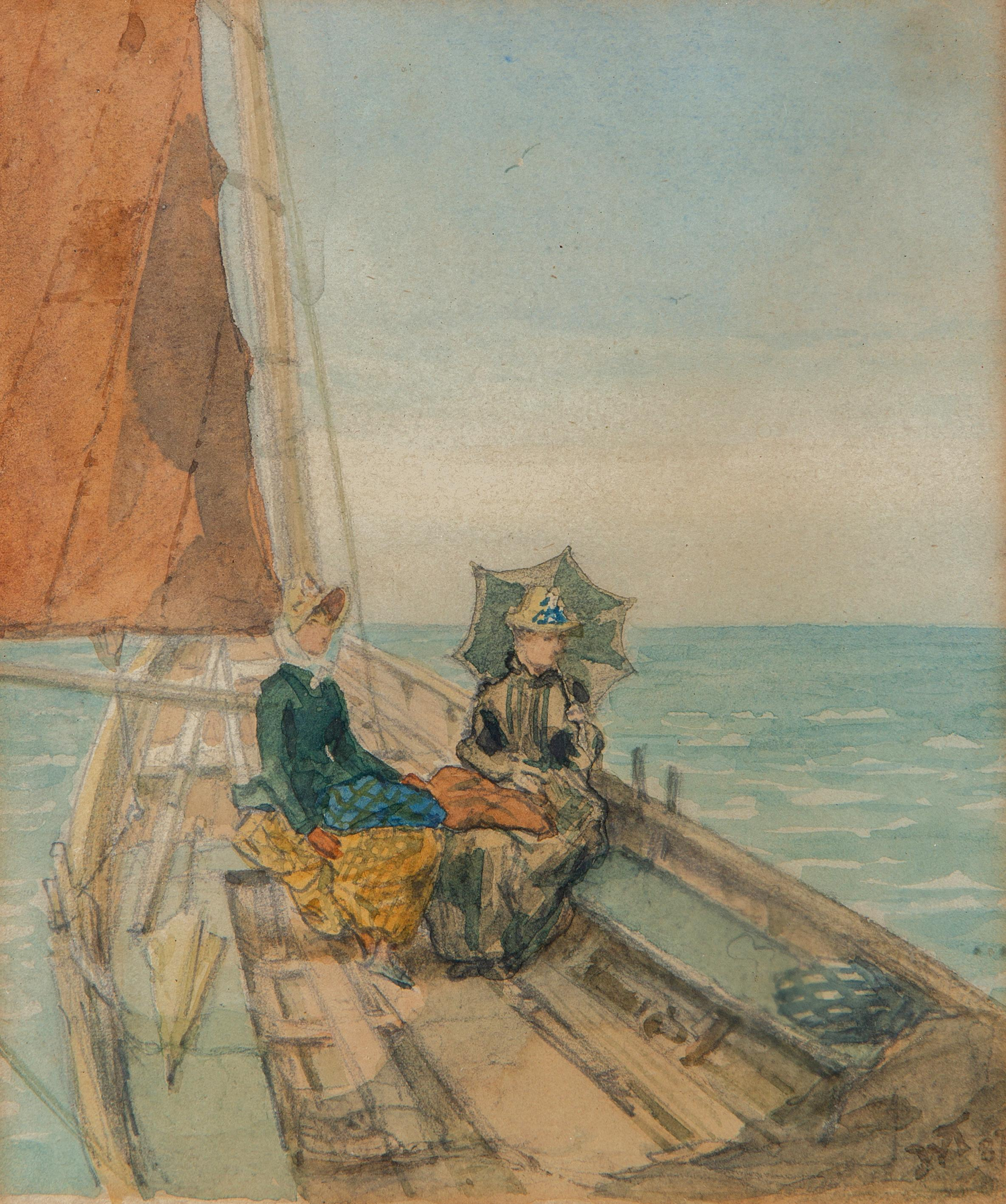 Two elegant ladies enjoying a day at sea