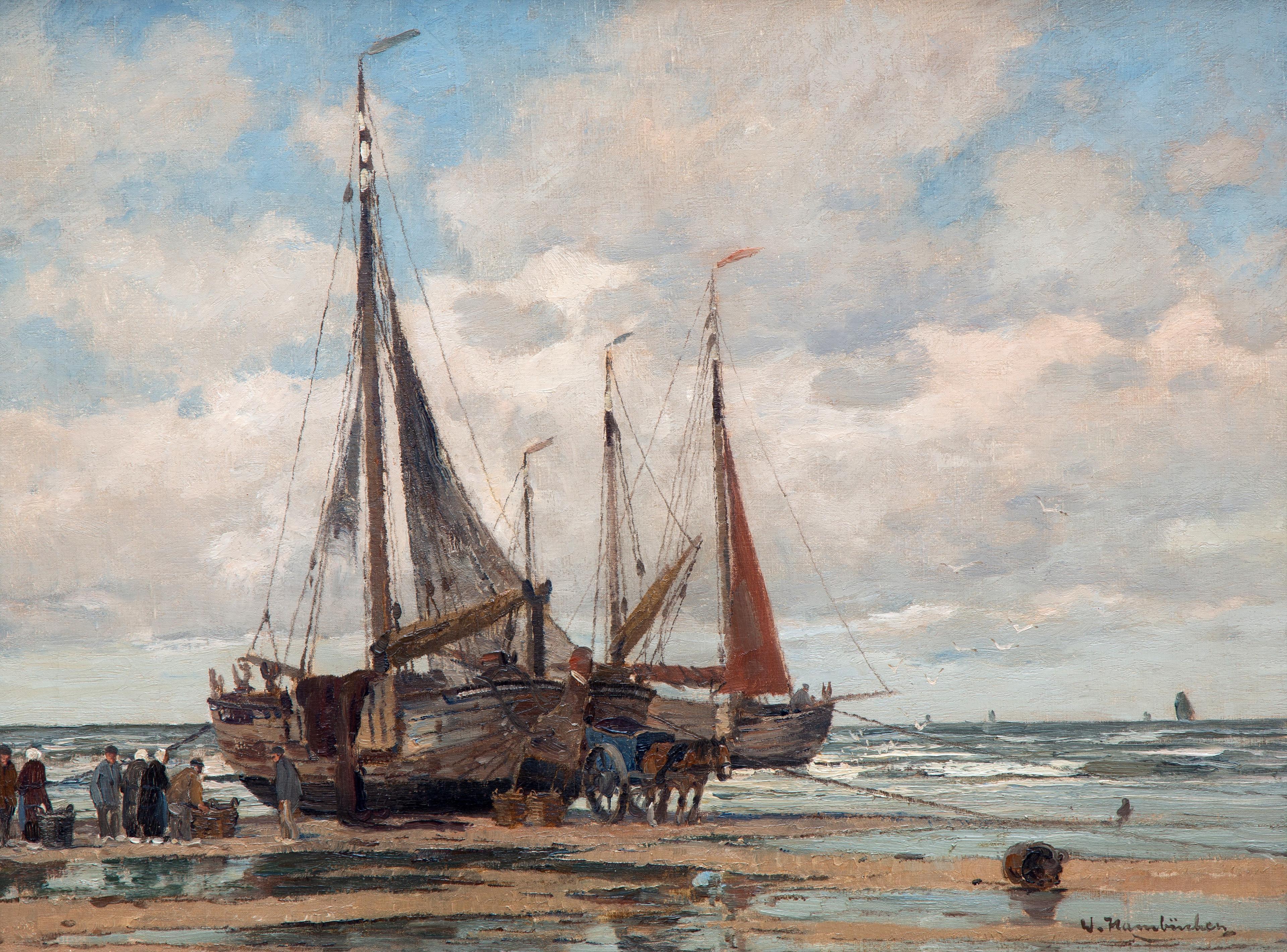 Bomschuiten on the beach of Katwijk