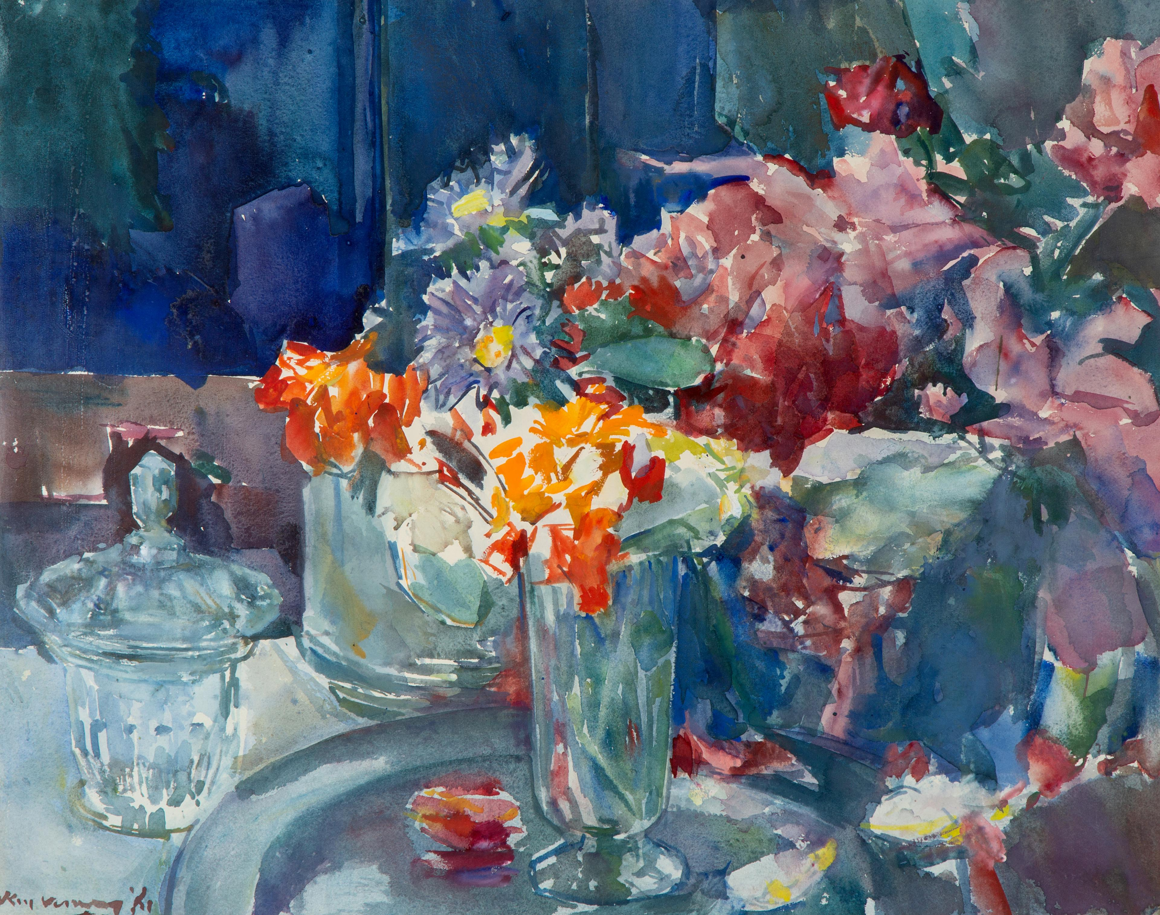 A still life with an orange and purple flowers in vases