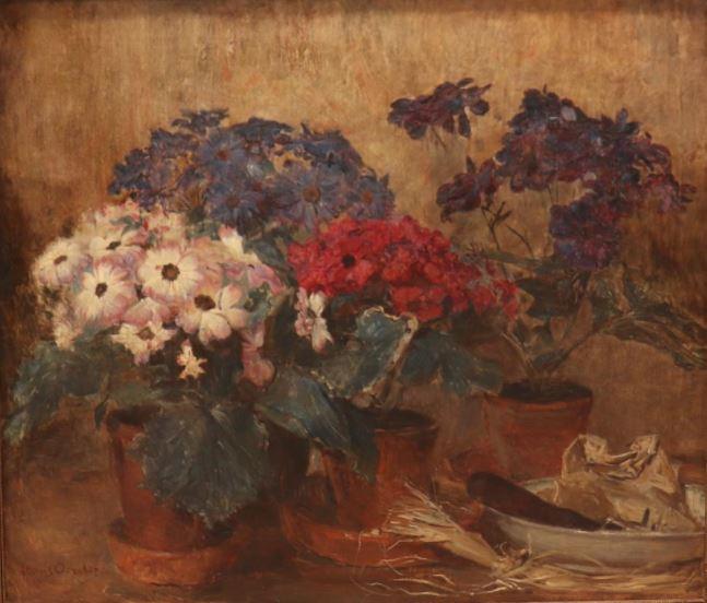 Stilleven met bloemen in pot