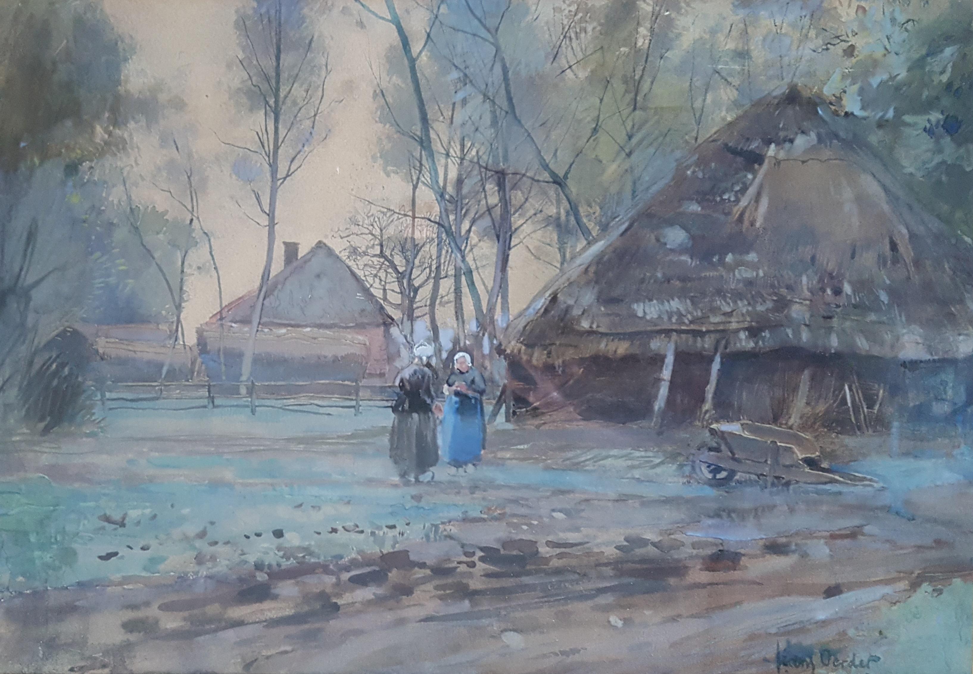 Brabantse boerinnen op het erf