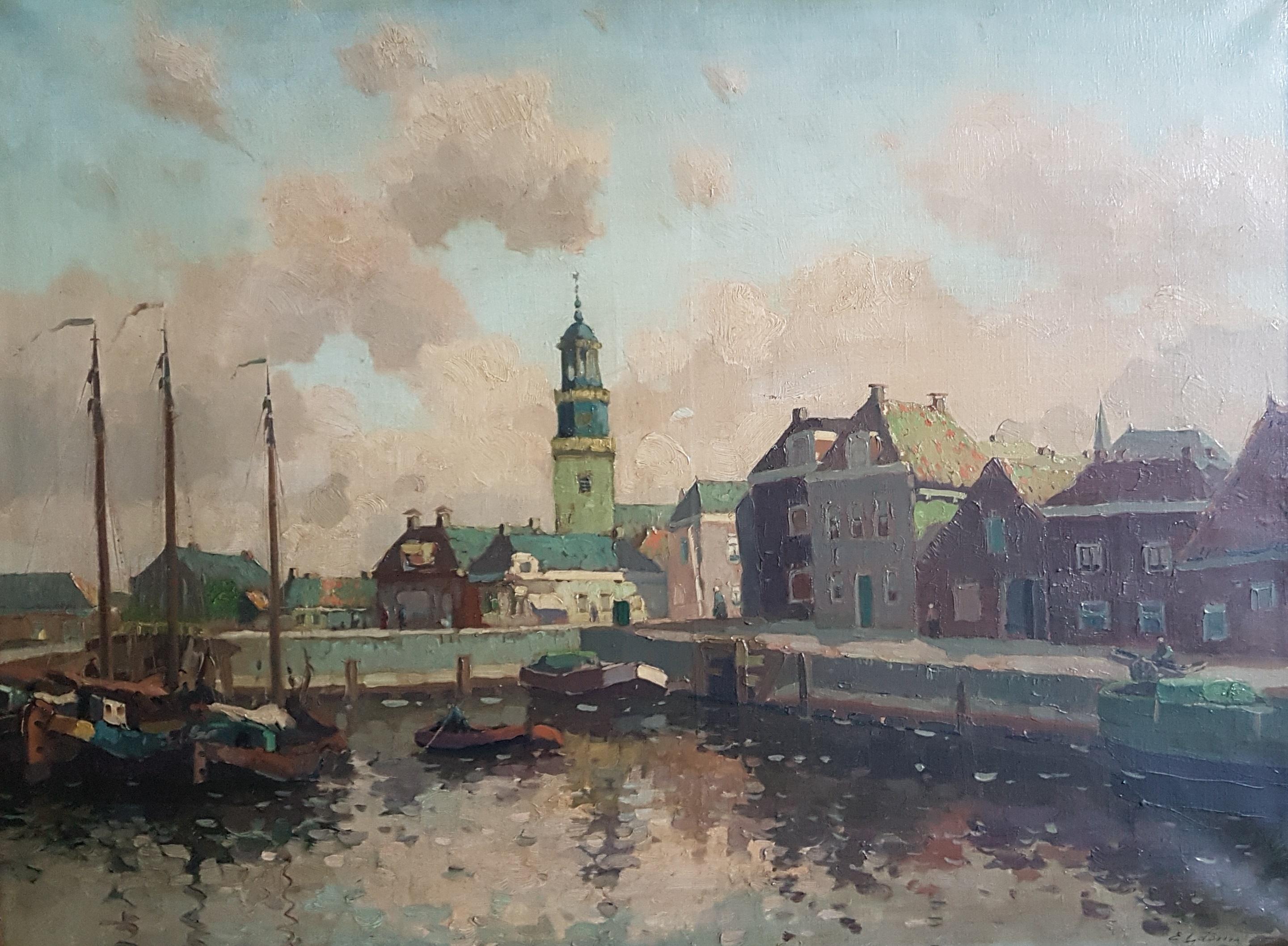 Gezicht op de haven van Harlingen met vuurtoren