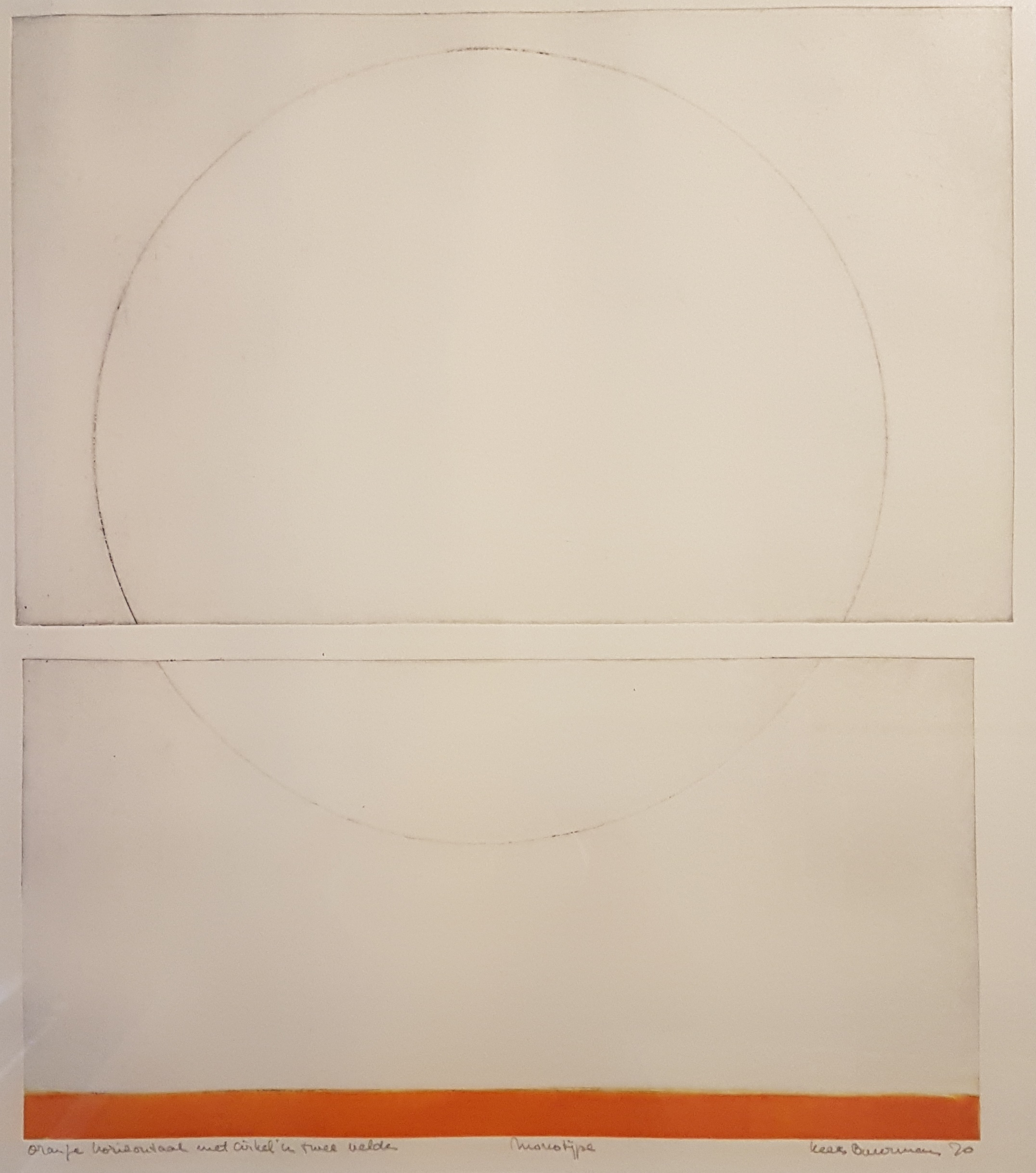 Oranje horizontaal met cirkel in twee
