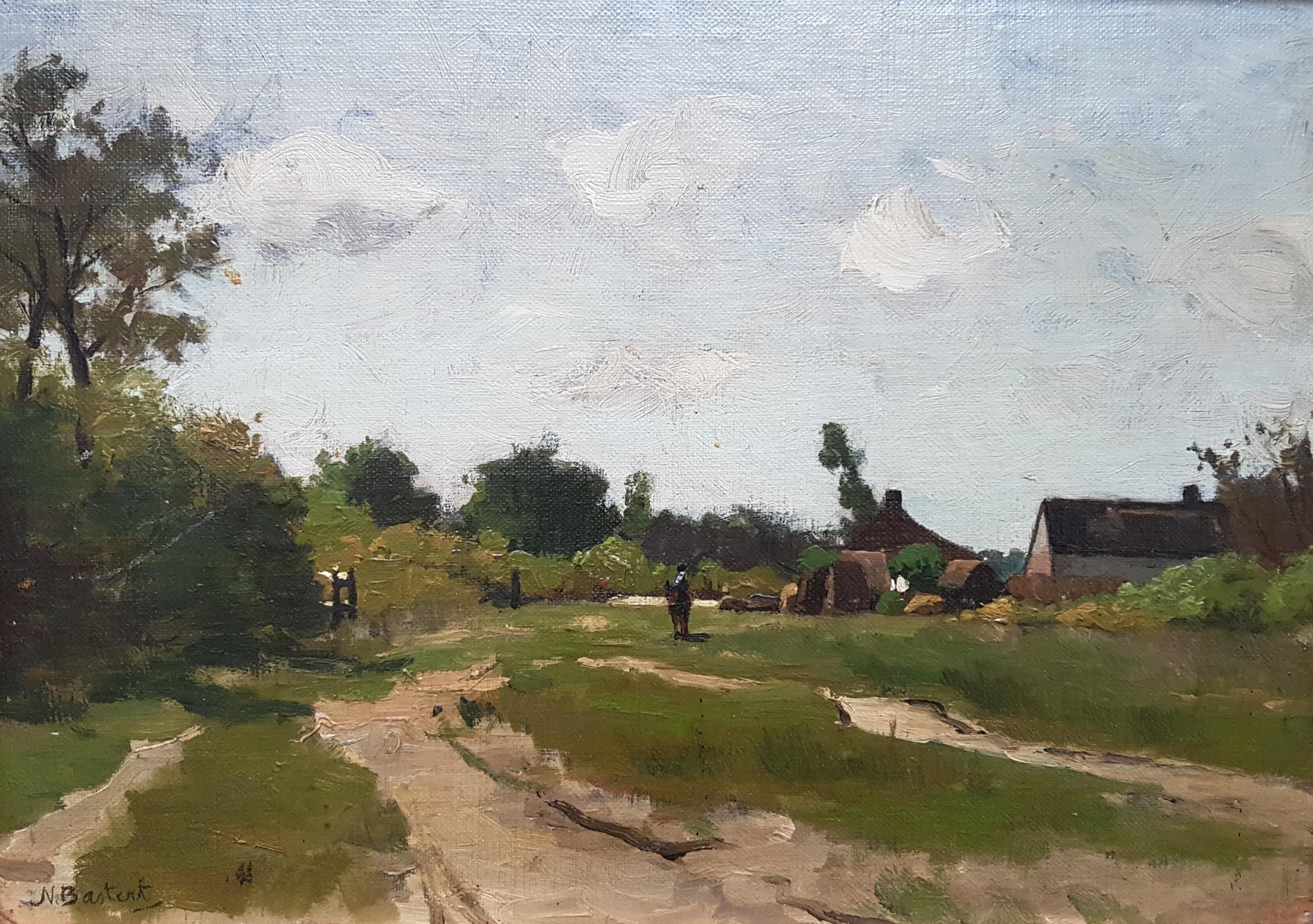 Landschap met boerderij paard op de achtergrond