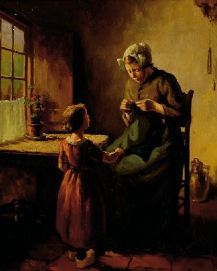 Een Breiende Vrouw Met Kind Voor Een Raam