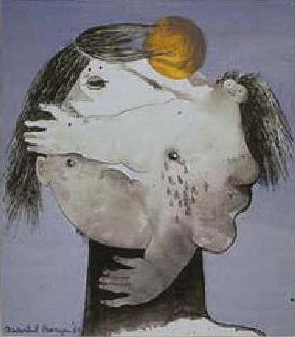 Het hoofd als een 'n standbeeld op 'n zwarte steel, ter nagedachtenis aan de lijven die 't bewoonden.