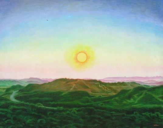 Ondergaande Zon In Berglandschap