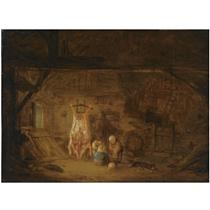 A BARN INTERIOR WITH THREE CHILDREN PLAYING WITH A PIG'S BLADDER, NEXT TO A SLAUGHTERED PIG
