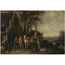 TRAVELLERS IN A HORSE-DRAWN WAGON AND OTHER FIGURES OUTSIDE AN INN, A VIEW OF DELFT WITH THE OUDE AND NIEUWE KERK BEYOND