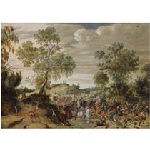 A SKIRMISH IN A WOODED LANDSCAPE