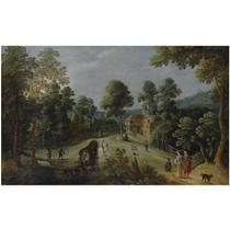A WOODED HILLY LANDSCAPE WITH ELEGANT TRAVELLERS AND A HORSE-DRAWN WAGON ON A PATH, NEAR A VILLAGE
