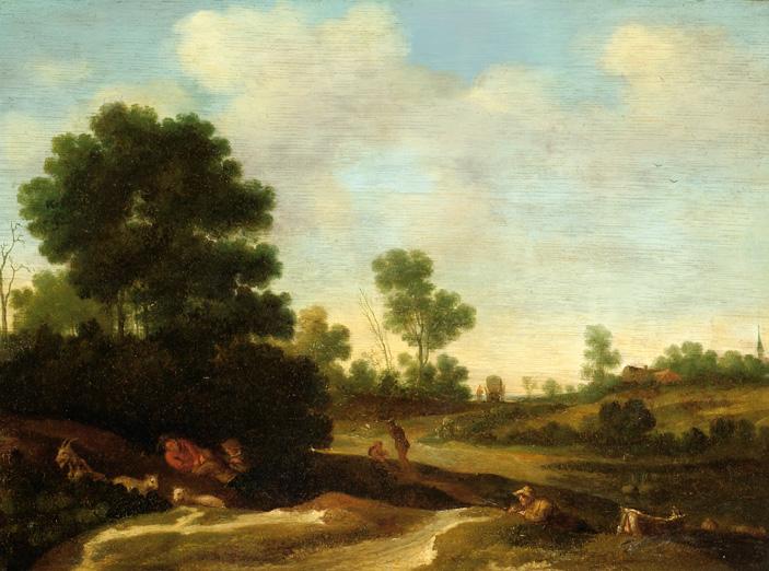 Herders bij een duinweg