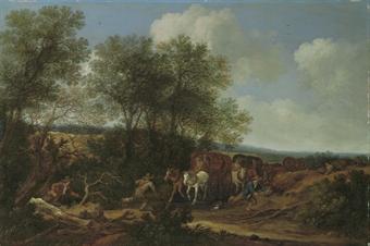 Brigands attacking a caravan in a dune landscape