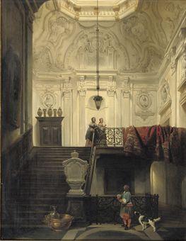 Elegant figures in interior of Huis Schuylenburch, The Hague