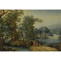 A WOODED LANDSCAPE WITH CHRIST ON THE ROAD TO EMMAUS