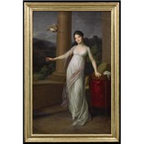 PORTRAIT OF AMALIE VON LEVETZOW, NÉE VON BRÖSIGKE, LATER COUNTESS OF KLEBELSBERG (1788-1868), STANDING FULL LENGTH ON A TERRACE, WEARING A WHITE SILK DRESS WITH A PINK SHAWL, WITH A DOVE