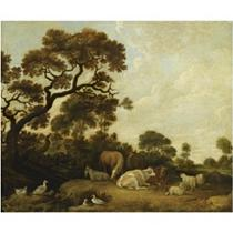 Horses, cows, a goat and sheep in a wooded landscape, near a pond with ducks