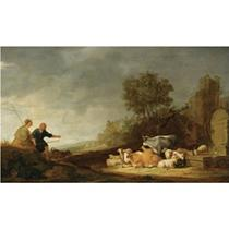 A southern landscape with a shepherd and a shepherdess resting with their cattle by a watering place, ruins beyond
