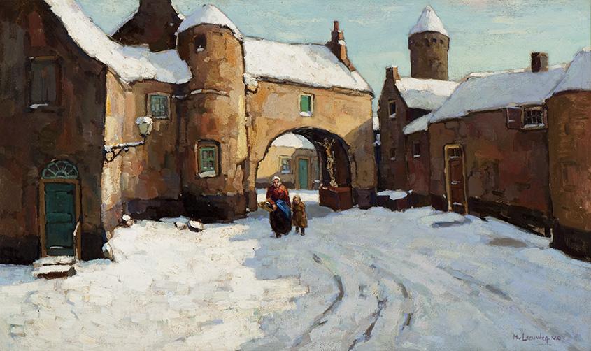 Wintergezicht op een stadspoort