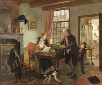 A family in an interior with a dog and cat
