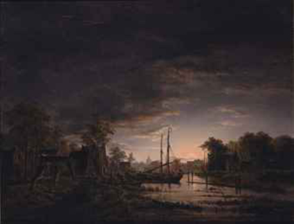 A moonlit river landscape (said to be Abcoude)
