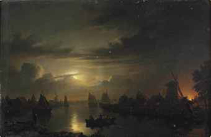 A moonlit river with a fire blazing in the background