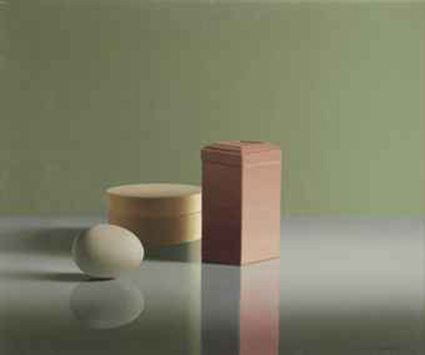 Still life with an egg, a box and a pink tin