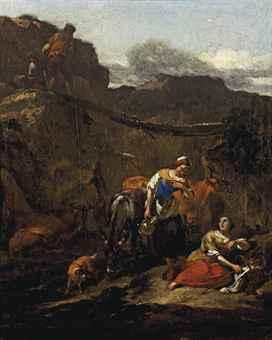 Shepherds resting in a rocky landscape
