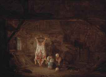 A barn interior with three children and their dog playing with a pig's bladder