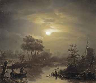 A moonlit river landscape, with a town in the distance